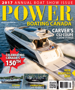 Carver C52 Coupe on the cover of Power Boating Canada